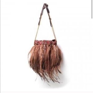 Valentino Garavani Emu Feather Silk Evening Bag